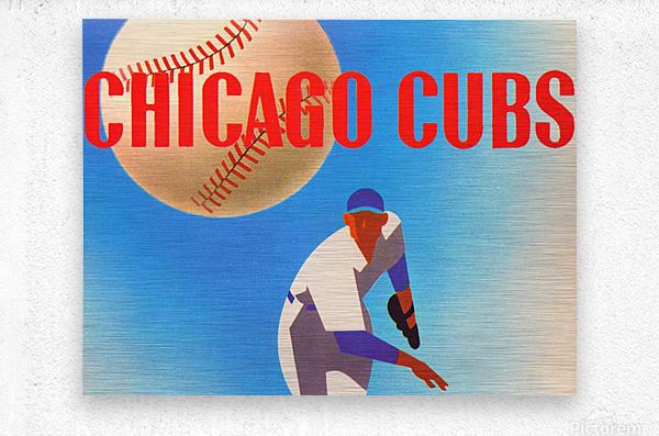 Sports Art Remixes_Public Domain Sports Art Creations_Chicago Cubs Poster (1950)  Metal print