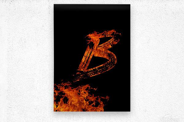 Burning on Fire Letter B  Metal print