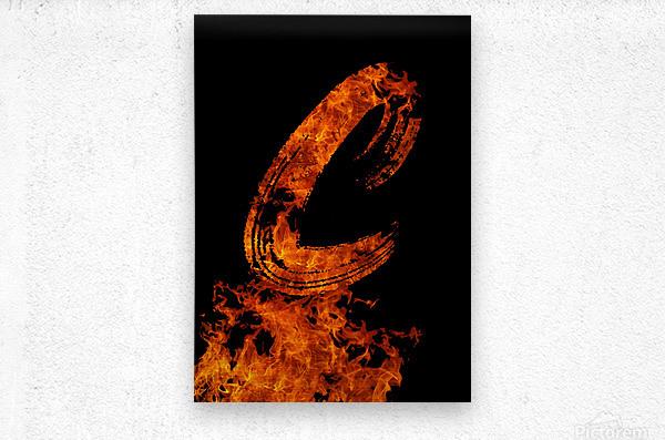 Burning on Fire Letter C  Metal print