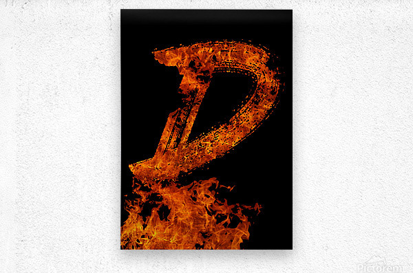 Burning on Fire Letter D  Metal print