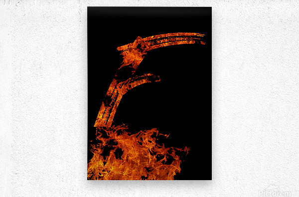 Burning on Fire Letter F  Metal print