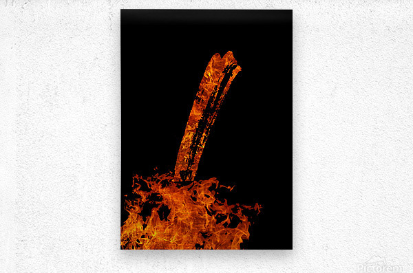 Burning on Fire Letter I  Metal print