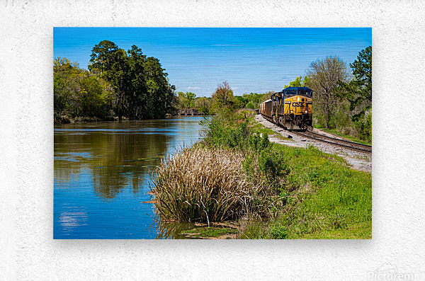 CSX Train along the Augusta Canal GA 02909  Metal print