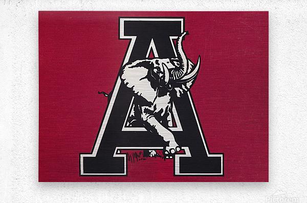vintage alabama a elephant artwork 1982 college poster  Metal print