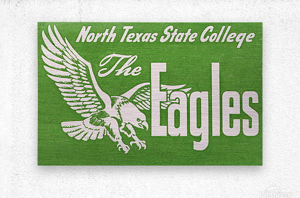 north texas state college unt eagles vintage poster college art collection  Metal print