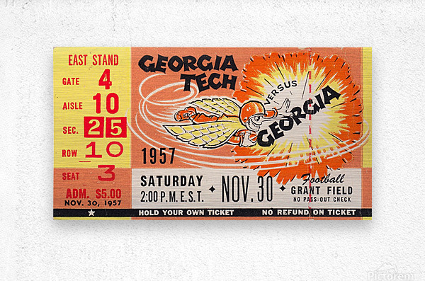 College_FootballArt_GeorgiaTechvs.Georgia_GrantField_TicketStubArt  Metal print