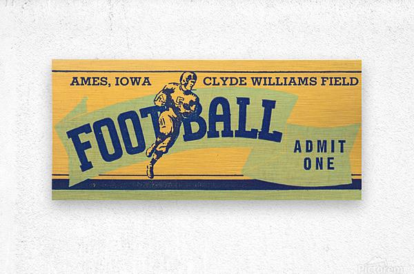1939 Ames Football Admit One Ticket  Metal print