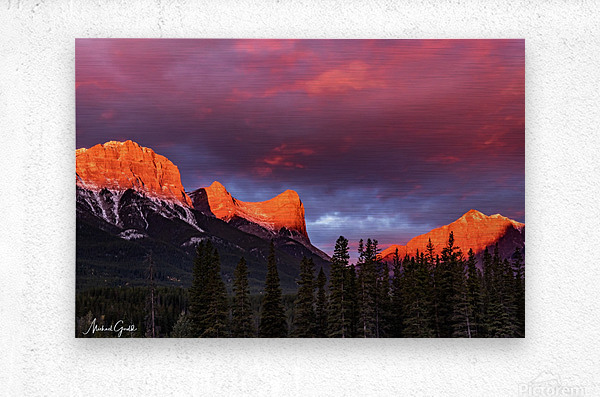 Ha Ling Mountain Range Sunrise  Metal print