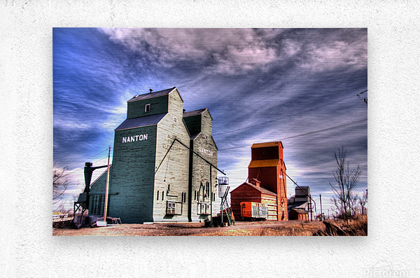 Grain Elevators in Nanton Alberta  Metal print