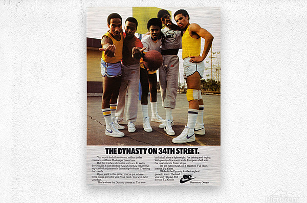 1981 vintage nike shoe ads dynasty on 34th street retro basketball poster  Metal print