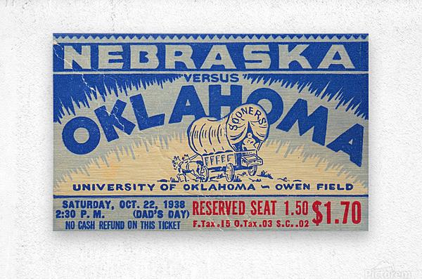 oklahoma football metal sign sooners ticket stub collection row 1 row one vintage sports art brand  Metal print