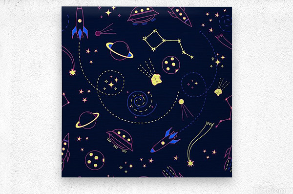 Cartoon space seamless pattern vectors  Metal print