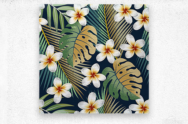 seamless pattern with tropical strelitzia flowers leaves exotic background_  Metal print