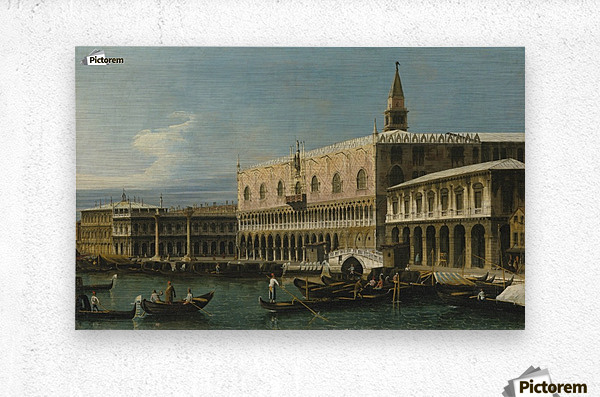 Venice, a view of the Molo, looking West, with the Palazzo Ducale and south side of the Piazzeta  Metal print