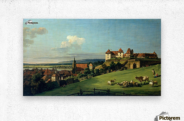 View of Pirna from the Sonnenstein Castle, c. 1750  Metal print