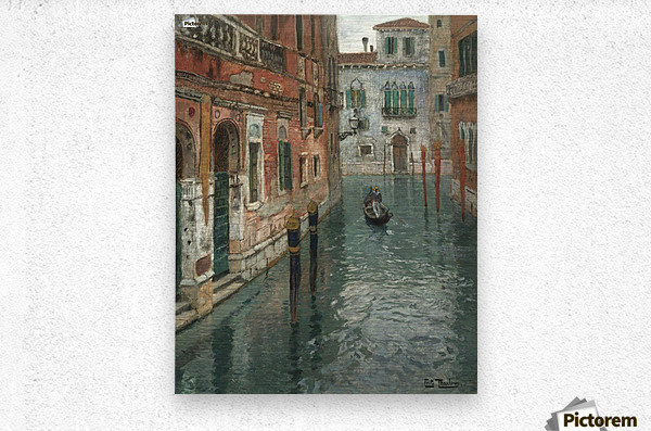 Along the canal in Venice  Metal print