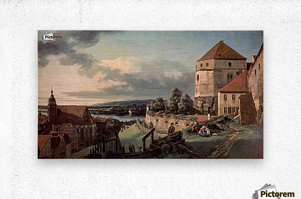 Landscape with castle and river  Metal print