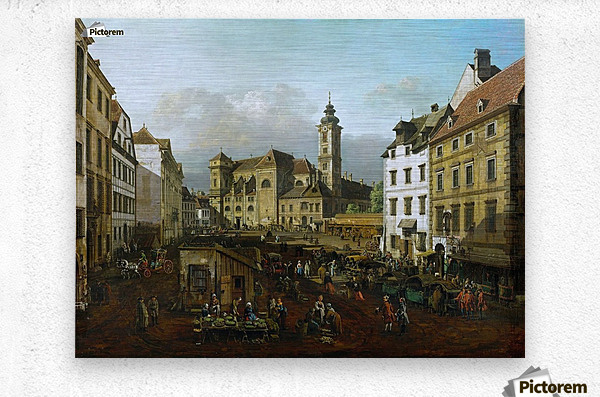 Market outside church  Metal print