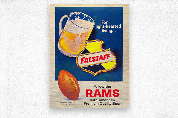vintage falstaff beer ad poster la rams retro football metal sign  Metal print