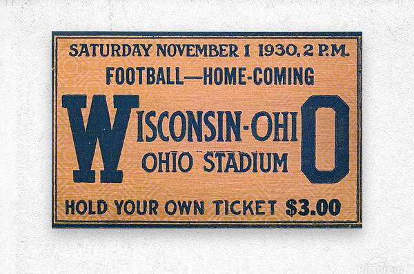 ticket stub metal sign osu buckeyes football vintage tickets wood prints  Metal print