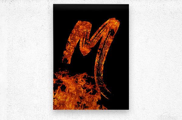Burning on Fire Letter M  Metal print