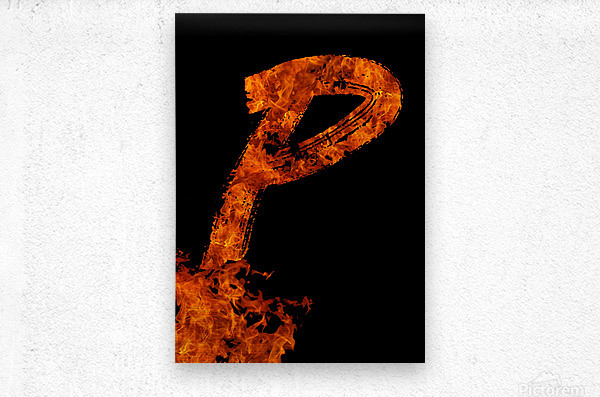 Burning on Fire Letter P  Metal print