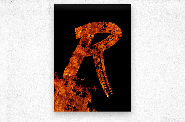 Burning on Fire Letter R  Metal print