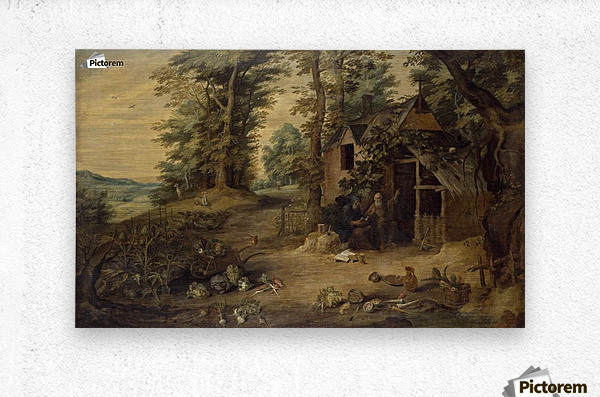 Landscape with Homestead  Metal print