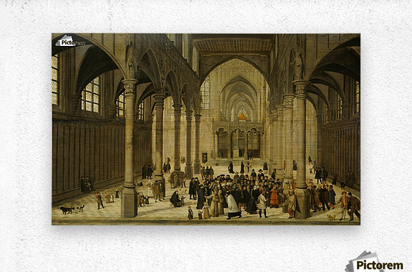 Church interior with Christ preaching to a crowd  Metal print