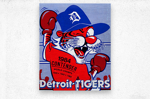 vintage detroit tigers poster retro sports art 1980s posters  Metal print