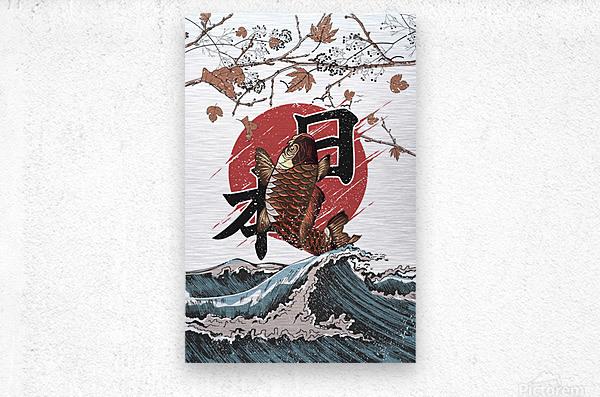 Koi fish fly waves  Metal print