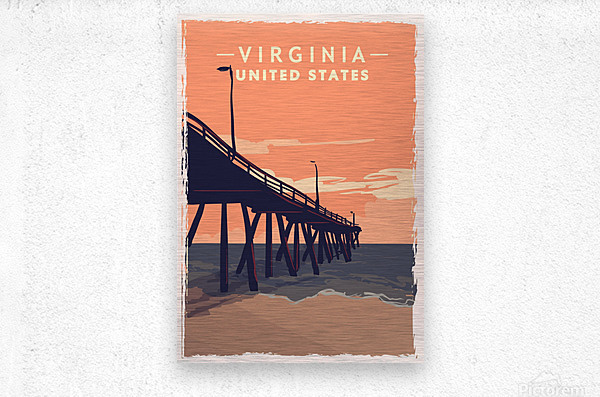 virginia retro poster usa virginia travel illustration united states america  Metal print