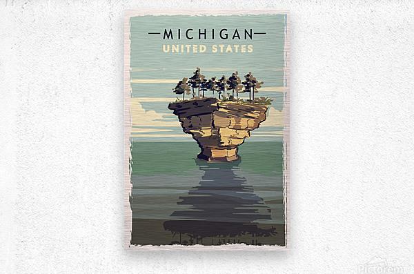 michigan retro poster usa michigan travel illustration united states america  Metal print