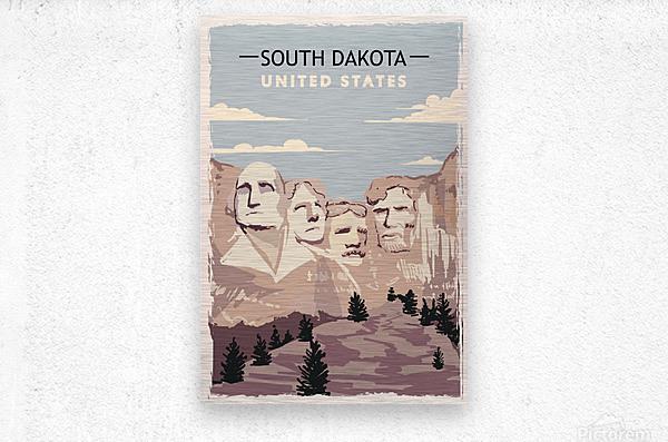 south dakota retro poster usa south dakota travel illustration united states america  Metal print