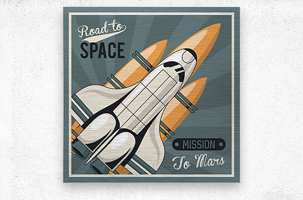 Life space poster with mars rocket rockets vintage  Metal print