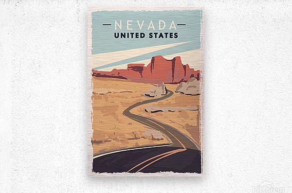 nevada retro poster usa nevada travel illustration united states america  Metal print