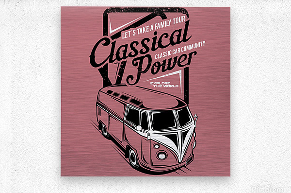 Lets take family tour classical power illustration classic family car  Metal print