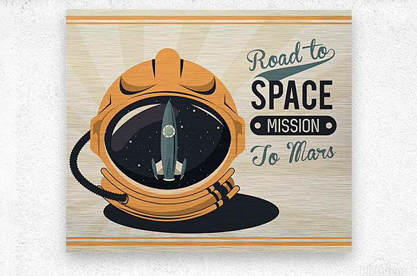 Life space vintage poster with set scenes  Metal print