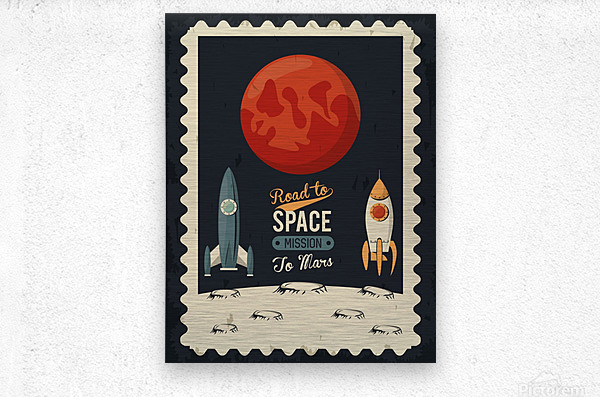 Life space poster with mars rocket rockets  Metal print
