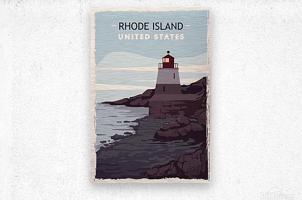 Rhode island retro poster usa rhode island travel illustration united states america  Metal print