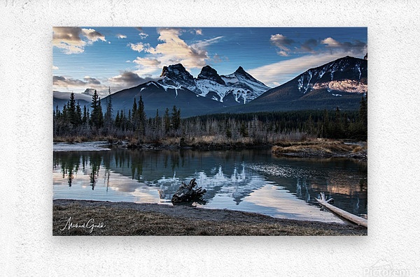 Three Sisters Canmore   Metal print