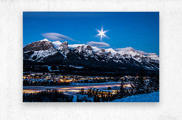 Canmore Morning Moon Over Rundle Mountain  Metal print