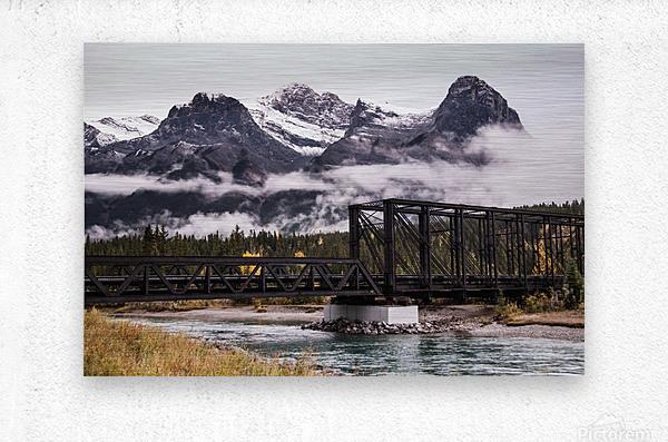 The Engine Bridge Canmore in Fall  Metal print