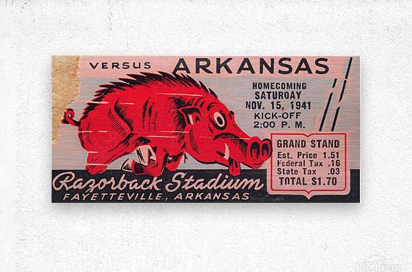 1941 Arkansas Razorbacks Ticket Stub Art  Metal print