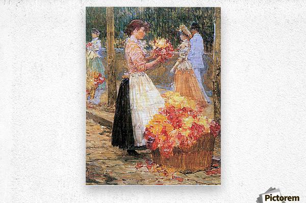 Woman sells flowers by Hassam  Metal print