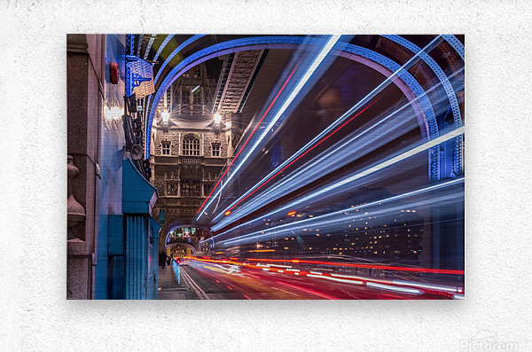 Light trails along Tower Bridge London  Metal print