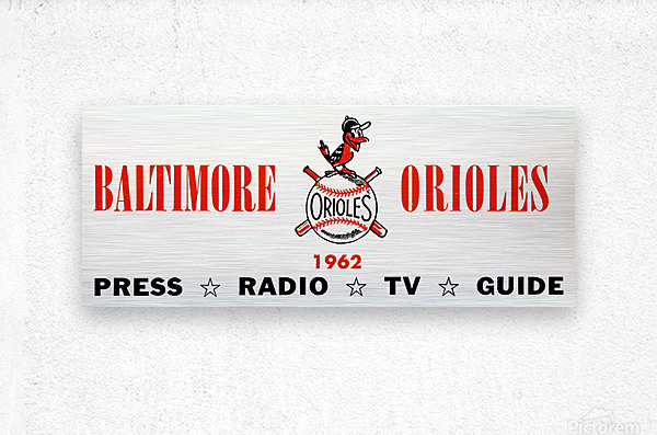 baltimore orioles press guide row one  Metal print