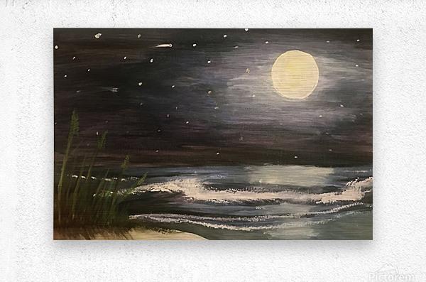 Moonlit Seascape  Metal print
