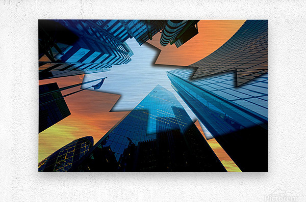 london skyscraper lighting contrast_1588277165.5591  Metal print