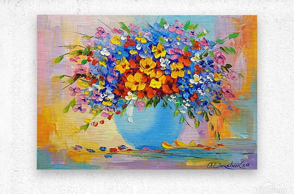 A bouquet of bright flowers  Metal print